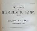 RECENSEMENT DES CANADAS EN 1851-1852. ASSEMBLEE LEGISLATIVE DU CANADA