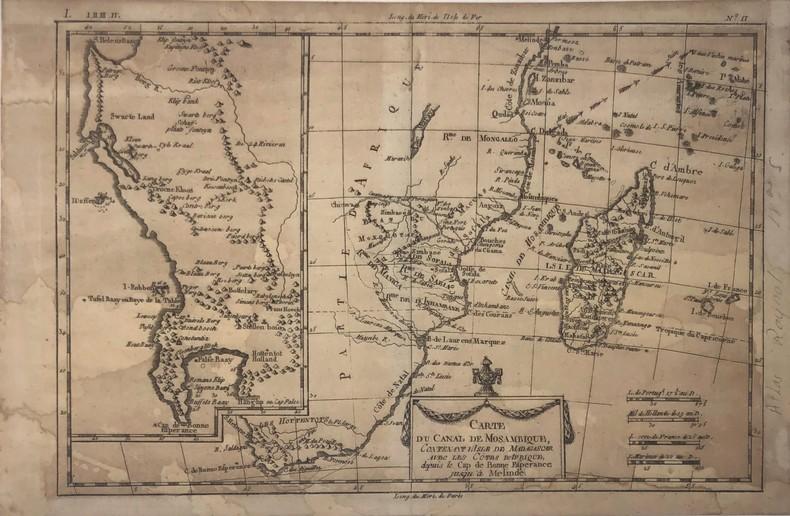 Carte du canal de Mosambique contenant l'isle de Madagascar avec les cotes d'Afrique depuis le Cap de Bonne Esperance jusqu'a Melinde . BONNE