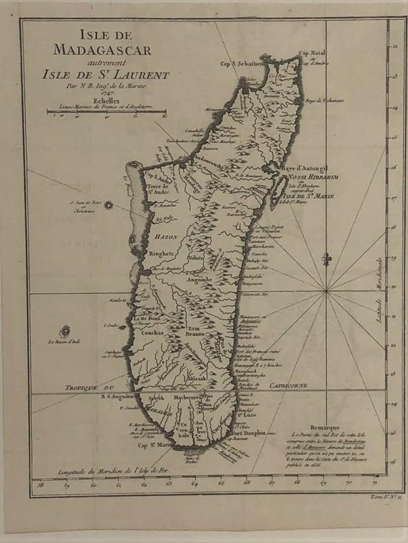 Carte de Madagascar autrement isle de st.Laurent par N.B. ingénieur de la marine 1747. BELLIN Jacques Nicolas
