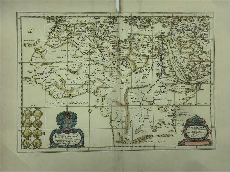 Africae Antiquae, et quarundam Europae Asiaeque Adiacentium Regionum, accurata delineatio, ad Historiarum lucem edita a Nicolao Blancardo, Batavo, ...