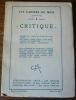 """""""Critique - Les Cahiers du Mois n° 8""""."""