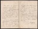 Lettre autographe signée à Charles Ernest Beulé. Ingres, Delphine