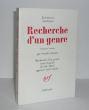 Recherche d'un genre. Première version. (Recherche d'un genre) texte français de Lily Denis approuvé par l'auteur, Littératures soviétiques, Paris, ...