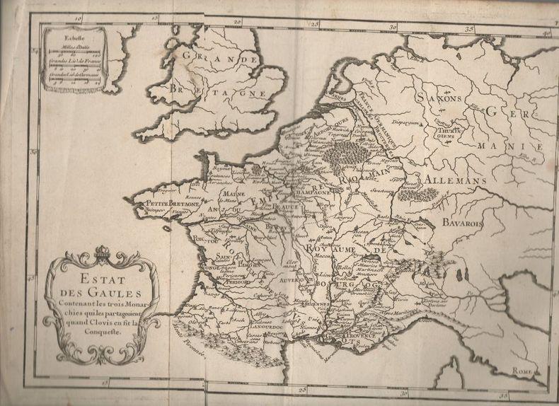Estat des Gaules, Contenant les trois Monarchies qui les partageoient quand Clovis en fit la conqueste. - [carte géographique]..