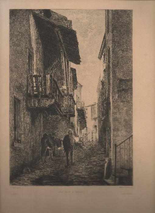 [LITHOGRAPHIE] - Une rue à Royat.. ROUX A. ..//.. A. Roux, gravé par Marie Duclos.