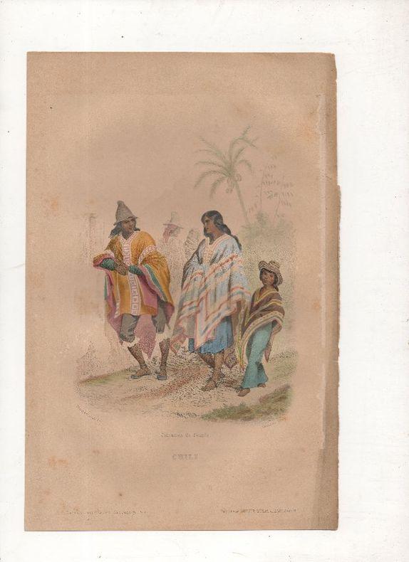 Chili - Costumes du peuple.. PHILIPPOTEAUX / SAUNIER ..//.. Henri Félix Emmanuel Philippoteaux, 1815-1884 (peintre, illustrateur, graveur) / Saunier ...
