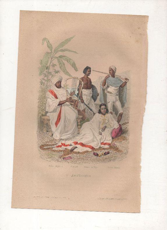 Abyssinie, costumes divers.. PHILIPPOTEAUX / SAUNIER ..//.. Henri Félix Emmanuel Philippoteaux, 1815-1884 (peintre, illustrateur, graveur) / Saunier ...