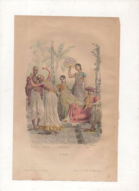 Asie - Costumes divers (Inde).. PHILIPPOTEAUX / SAUNIER ..//.. Henri Félix Emmanuel Philippoteaux, 1815-1884 (peintre, illustrateur, graveur) / ...