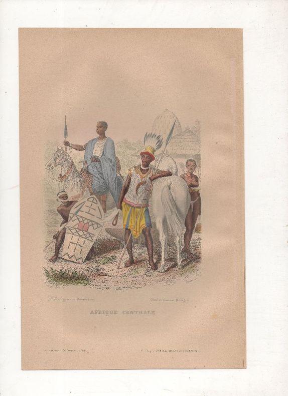 Afrique centrale - Costumes Kanembous et Mousgou.. PHILIPPOTEAUX / PIERRE ..//.. Henri Félix Emmanuel Philippoteaux, 1815-1884 (peintre, illustrateur, ...