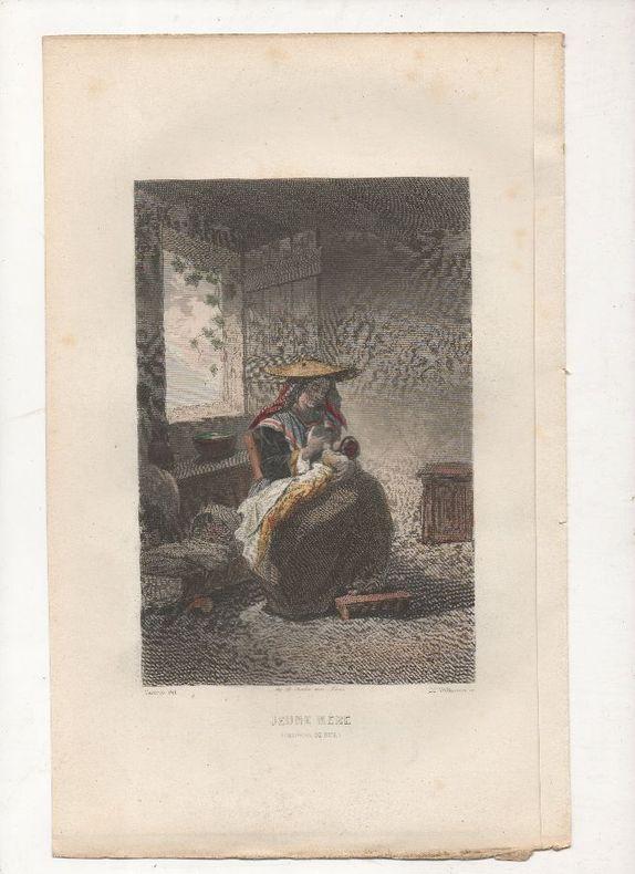 Jeune mère (Environs de Nice).. VALERIO / WILLMANN Ed. ..//.. Théodore Valério (1819-1879), peintre, graveur à l'eau-forte, lithographe / Edouard ...