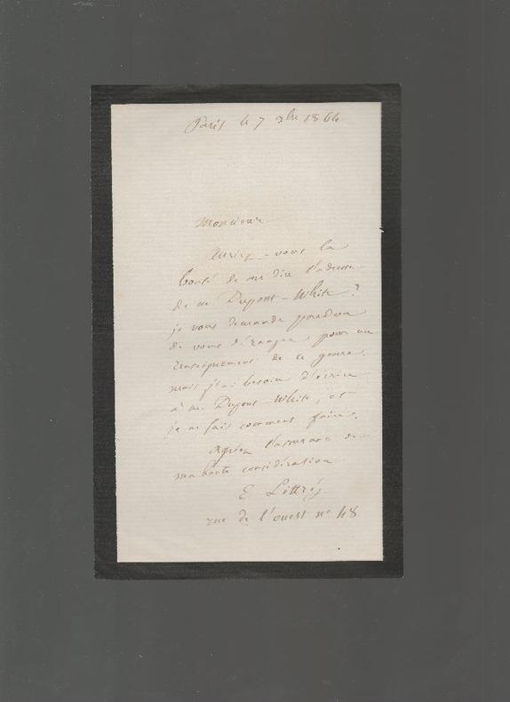 [Autographe] - Lettre manuscrite adressée à Hippolyte Carnot.. LITTRE Emile ..//.. Emile Littré / à Hippolyte Carnot.