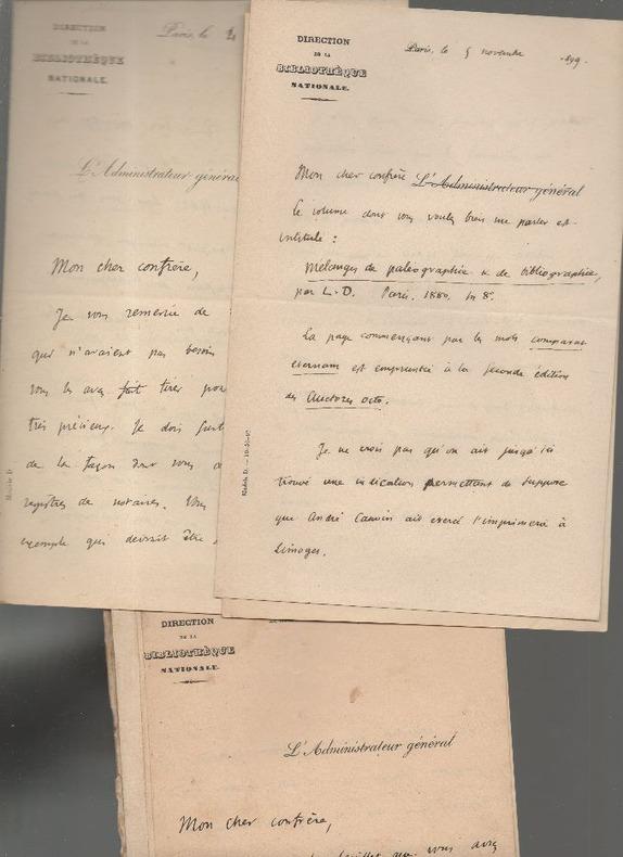 9 lettres autographes de Léopold Victor Delisle.. DELISLE / FLEURY ..//.. Léopold Victor Delisle (1826-1910) / Paul de Fleury (1839-1923).