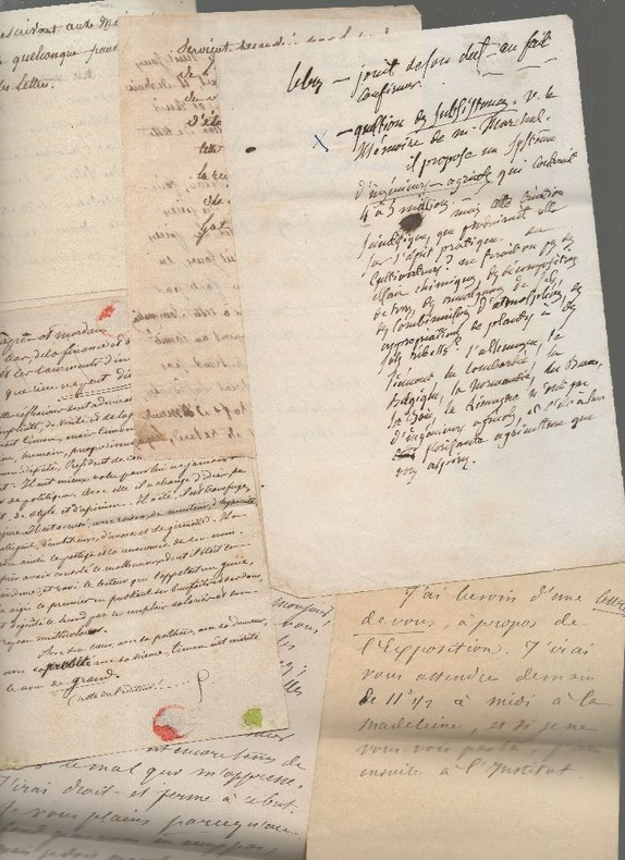 Ensemble de 16 feuillets autographes de notes et 3 feuillets autographiés.. BOUTON Victor ..//.. Victor-Nicolas Bouton (1819-..??).