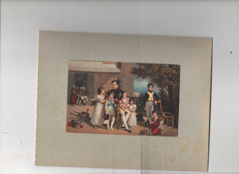 [Chromolithographie] - Napoléon Ier entouré des enfants de sa soeur Caroline Murat, et de ceux de son frère.. DUCIS Louis ..//.. Jean-Louis Ducis ...