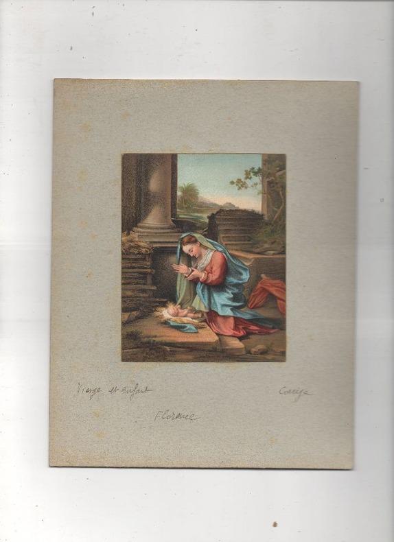 [Chromolithographie] - La Vergine che adora il Bambino (Vierge et enfant).. LE CORREGE ..//.. Antonio Allegri da Correggio, dit Il Correggio, en ...