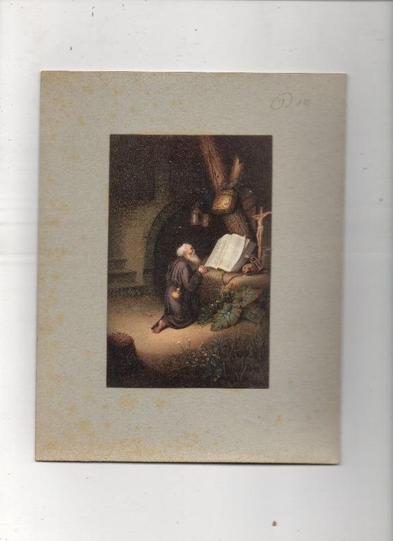 [Chromolithographie] - Der betende einsiedler (ou : Ermite en prière).. DOU Gérard ..//.. Gérard Dou, ou Gerrit Dou, ou Gerrit Dow (1613-1675).