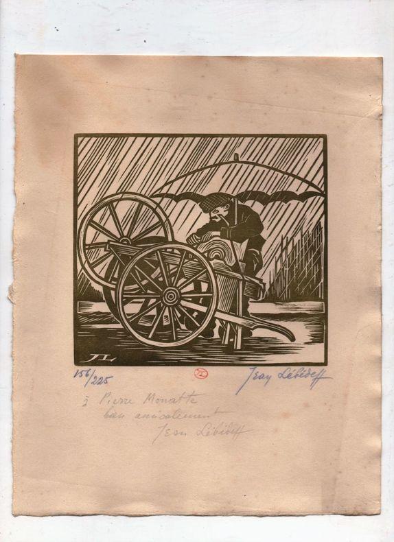 [Gravure sur bois] - Rémouleur.. LEBEDEFF Jean ..//.. Jean Lébédeff (1884-1972).