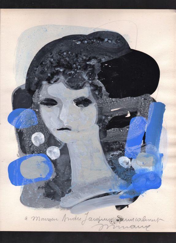 [Gouache] - Tête de femme.. MINAUX André ..//.. André Minaux (1923-1986).