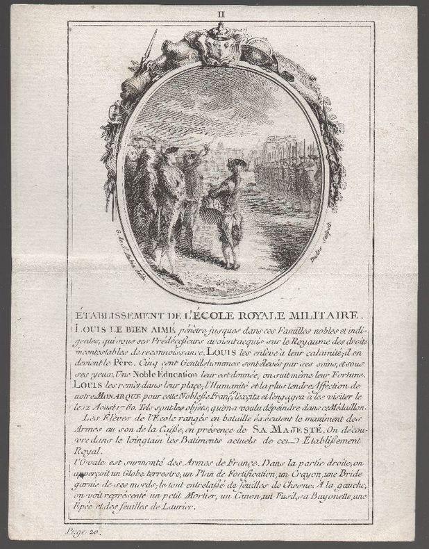 [Gravure] - Louis XVI visite l'Ecole royale militaire de Paris..