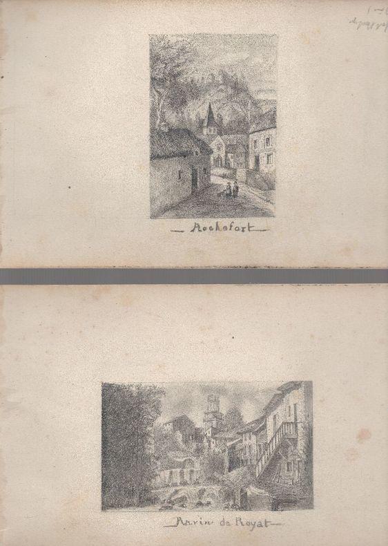 [Auvergne - Dessins]. - 3 dessins à la mine de plomb : Ravin de Royat - Rochefort - Gergovie..