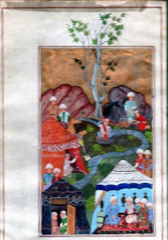 [Miniature persane] - Campement près d'une rivière. - [Illustration pour la chronique persane de Herat]..