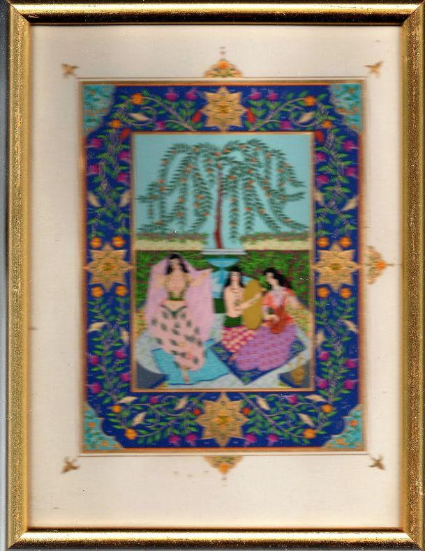 [Miniature persane] - Scènes de genre. - [Pendant de deux sous-verre]..