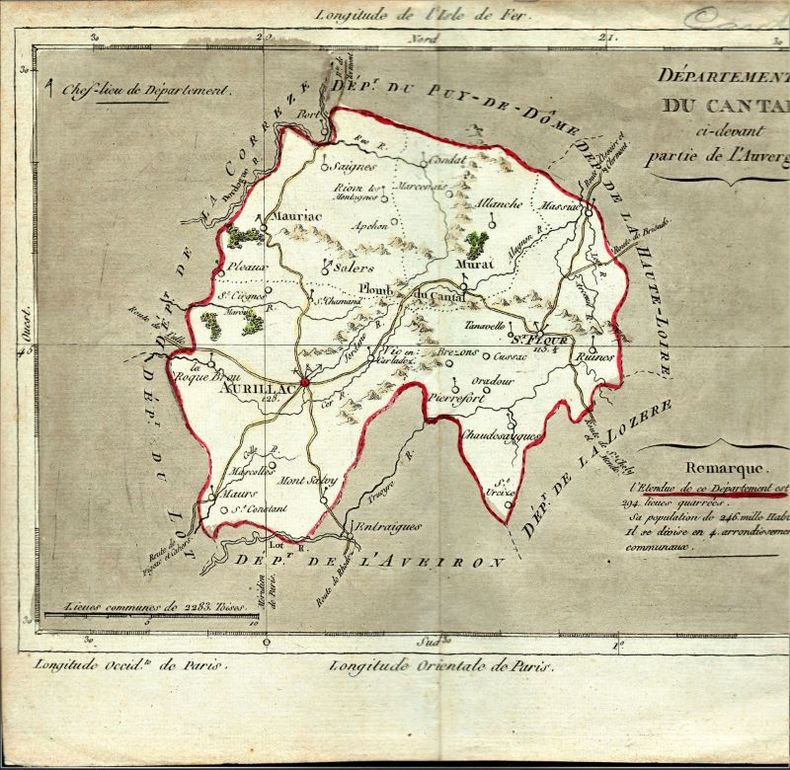 [Carte géographique] - Département du Cantal, ci-devant partie de l'Auvergne..