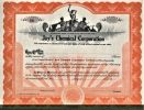 [Certificat d'actions, USA]. - Jay's Chemical Corporation..