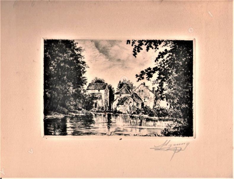 [Lithographies] - Lot de 4 Lithographies (paysages et bâtiments normands ???). .