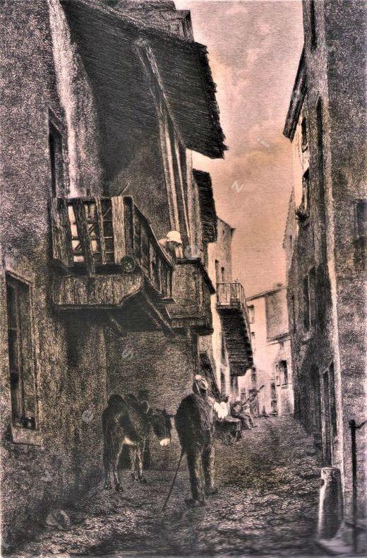 [Lithographie] - Une rue à Royat.. ROUX A. ...//... Antoine Roux.