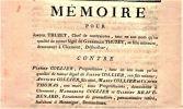[Factum judiciaire]. - Mémoire pour Joseph Thuzet, Chef de Contraintes, tant en son nom qu'en qualité de tuteur légal de Gabrielle Thuzet, sa fille ...