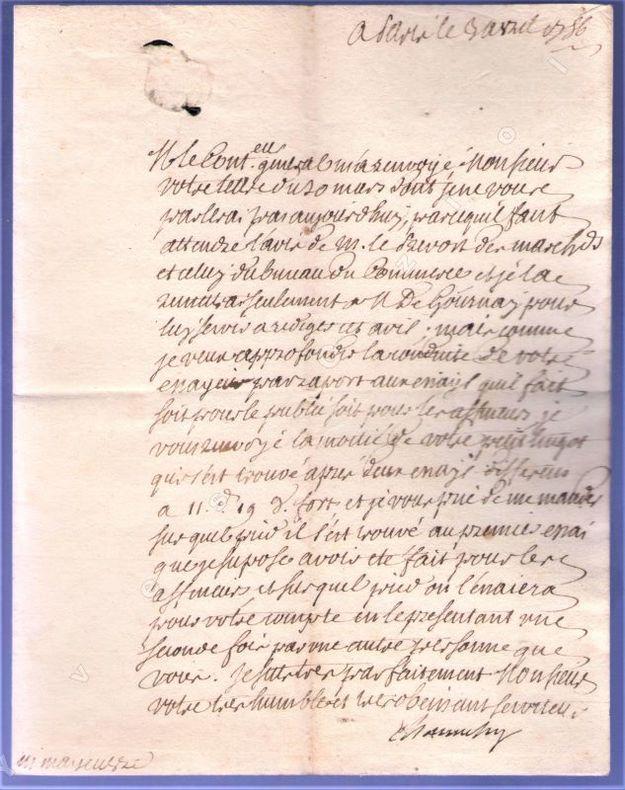 [Autographe] - Ensemble de deux lettres autographes signées.. CHAUVELIN ...//... François-Claude-Bernard-Louis de Chauvelin (1716-1773).