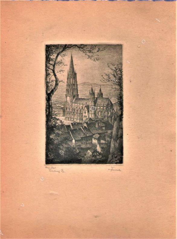 [Lithographie] - Ensemble de deux lithographies. (Fribourg-en-Brisgau, Allemagne)..