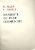 Manifeste du parti communiste.. MARX Karl - ENGELS F.