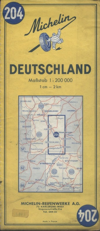 Carte Michelin N° 204. Deutschland. (Frankfurt). Carte au 200.000e.. CARTE MICHELIN