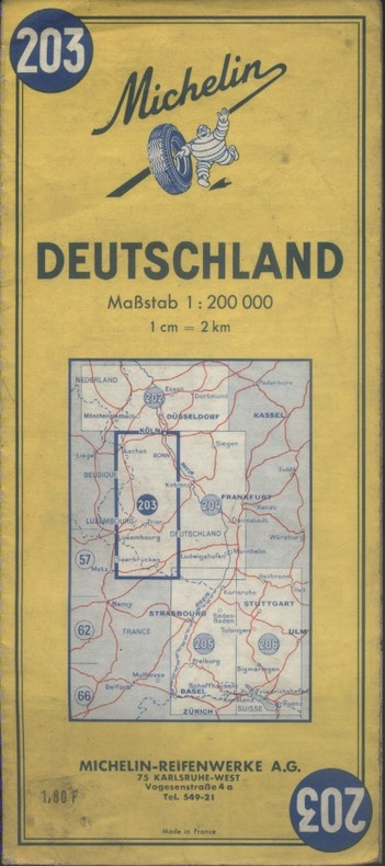 Carte Michelin N° 203. Deutschland. (Bonn-Saarbrücken). Carte au 200.000e.. CARTE MICHELIN
