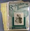 Recherches et inventions. Revue mensuelle. Année 1929 complète. 11 numéros. (173 à 183).. RECHERCHES ET INVENTIONS 1929