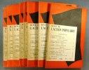 Revue de l'Action populaire 1957. Année incomplète. Numéros 104 à 113. Il manque le numéro 107 d'avril 1957.. REVUE DE L'ACTION POPULAIRE 1957