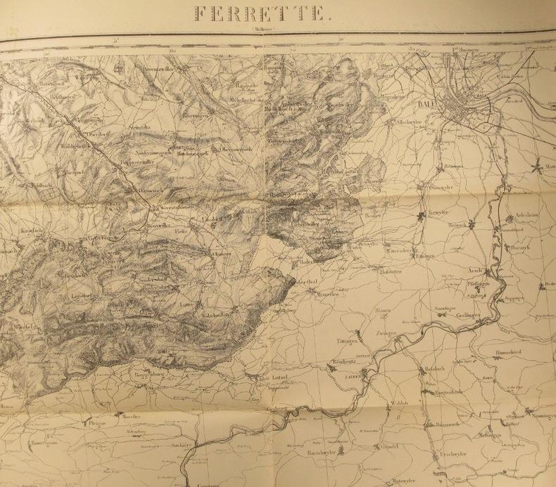 Ferrette (Mulhouse). Carte N° 115. Carte d'état major. Relevés de 1833. Début XXe.. FERRETTE - CARTE N° 115