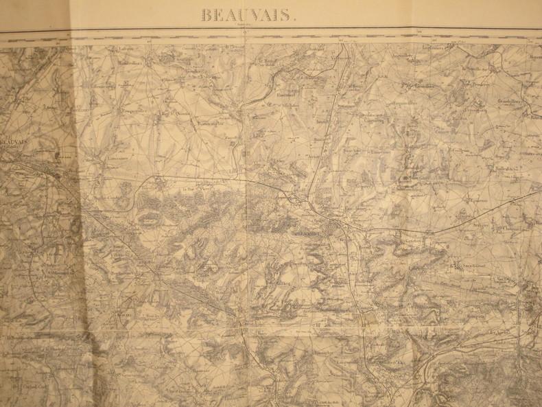 Beauvais (Montdidier). Carte N° 32. Carte au 1/80 000. Relevés de 1832. Révisée en 1903.. BEAUVAIS- CARTE