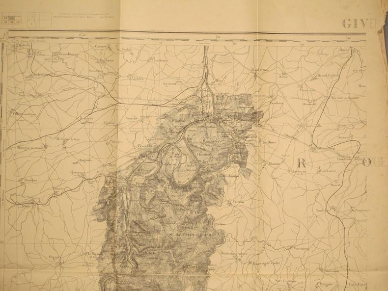 Givet. Carte N° 15. Carte au 1/80 000. Relevés de 1832. Révisée en 1897.. GIVET - CARTE