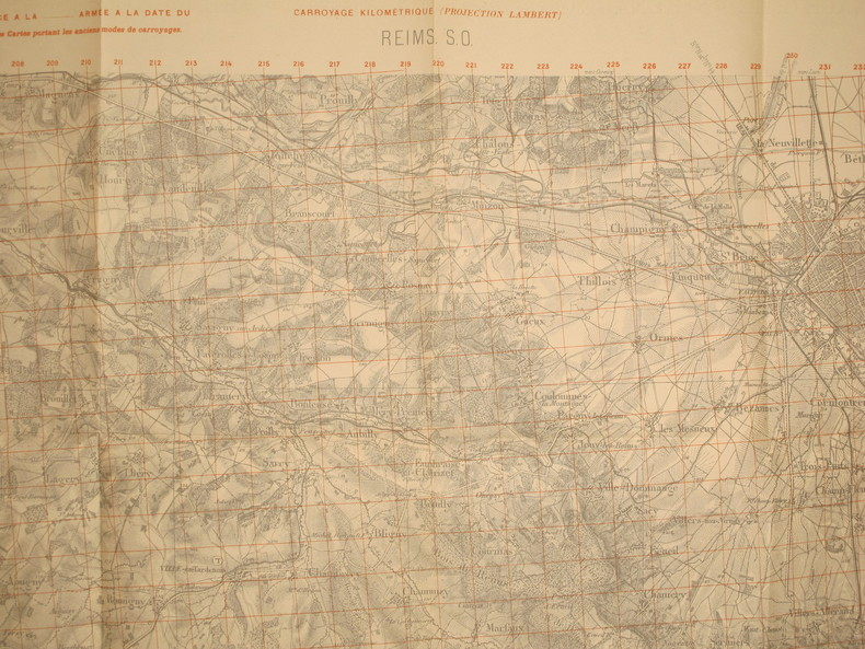 Reims S.-O. Carte N° 34. Carte au 1/50 000. Type 1889. Révisée en 1913. Tirage de 1917. Carroyage kilométrique imprimé en rouge (projection Lambert).. ...