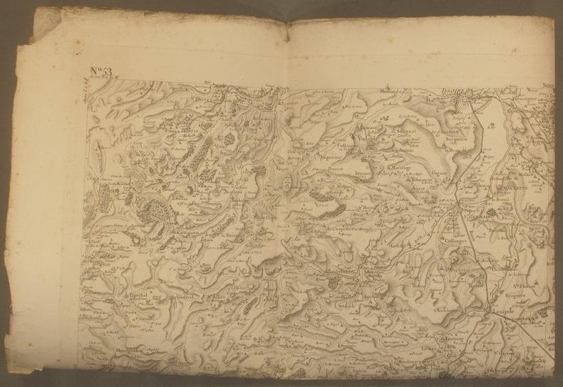 Carte de Cassini N° 53 : Région d'Issoire - Brioude - Massiac - Murat… Carte en taille douce, tirage XIXe siècle.. CARTE DE CASSINI