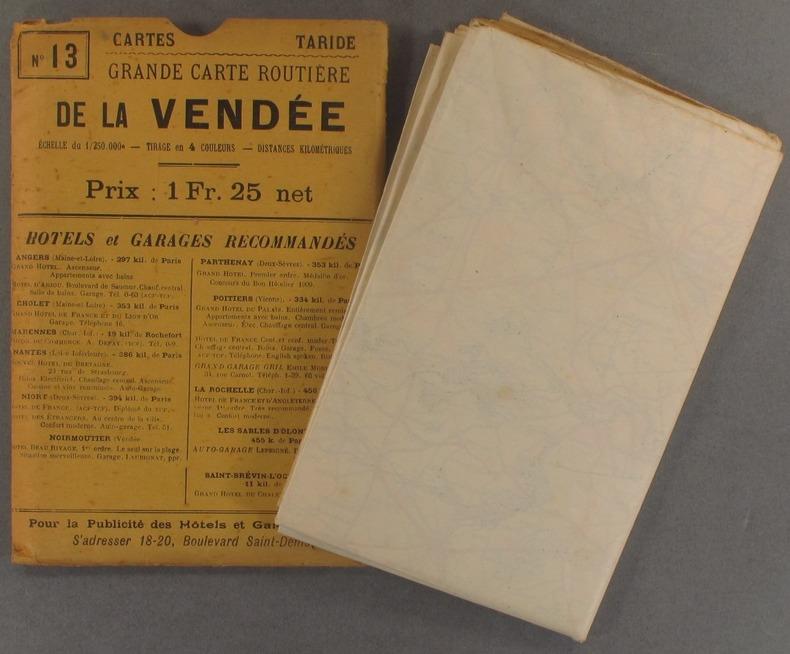 Grande carte routière de la Vendée. (Echelle 1/250 000e).. CARTE TARIDE