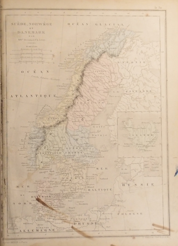 Carte de la Suède, Norwège et Danemark. Carte extraite de l'Atlas universel et classique de géographie ancienne, romaine, du moyen âge, moderne et ...