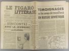 Le Figaro littéraire N° 147. Rencontre avec la jeunesse par Jean Guéhenno. - Camps de travail forcé en Russie soviétique.... LE FIGARO LITTERAIRE