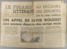 Le Figaro littéraire N° 186. Appel de David Rousset pour les déportés des camps soviétiques…. LE FIGARO LITTERAIRE
