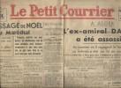 Le Courrier de l'Ouest. 60e année N° 301. L'ex-amiral Darlan a été assassiné.. LE PETIT COURRIER 26-27 décembre 1942