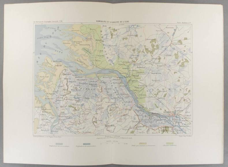 Hambourg et la bouche de l'Elbe. Carte en couleurs extraite de la Géographie universelle d'Elisée Reclus.. HAMBOURG Carte de Vuillemin, gravée par ...