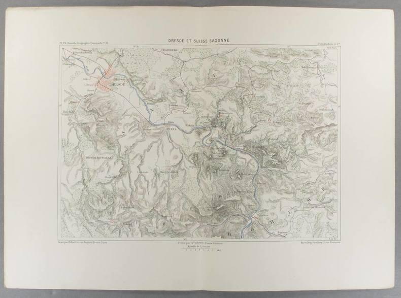 Dresde et Suisse saxonne. Carte en couleurs extraite de la Géographie universelle d'Elisée Reclus.. DRESDE Carte de Vuillemin, gravée par Erhard.